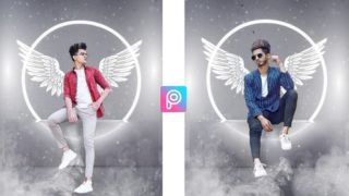 Neon Light Wings Photo editing png & Background download